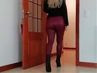 Nice and Sexy lady in Very TightLeather Leggings