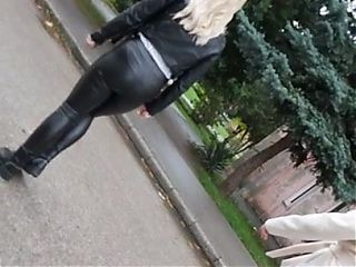 Leather Leggings Blonde Pawg Candid Ass
