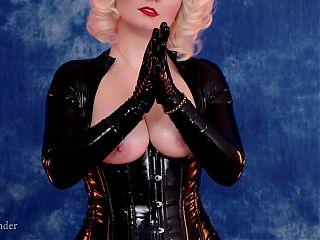 Shiny latex rubber catsuit – curvy kinky female Arya Grander