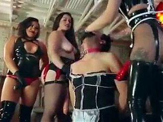 A femdom domination gangbang party