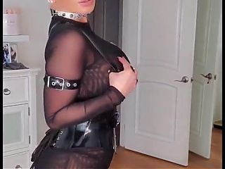 Anal queen in transparent dress, leather and high heels