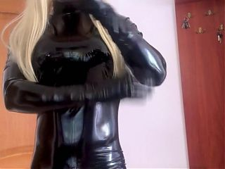 Latex – Living Barbie In Shiny Catsuit