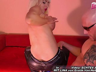 USER MEETS GERMAN TEEN AND CUMS ON HER LEATHER PANTS