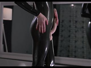 Futanari Girl Wet Latex Jerk Off