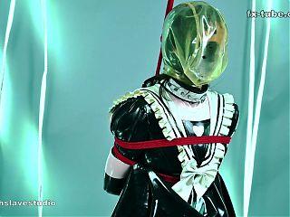 fx-tube com Latex lesbian cute maid bondage play part 2