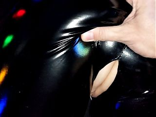 Fuck Tight Pussy in Shiny Ripped Leather Wetlook Leggings