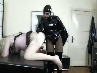 Mistress fucks sissy with huge strapon