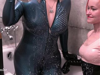 Positive Femdom latex rubber video, lesbians in the bath with food