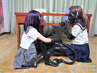 Latex JK lesbian kink game, breathplay, femdom part 2
