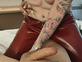 My Granny Milf English Bitch in Hot Red Leather Pants