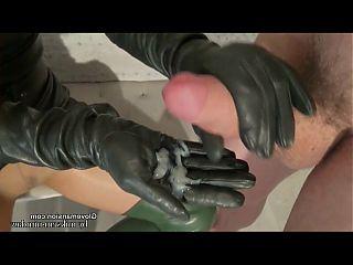leather gloves handjob
