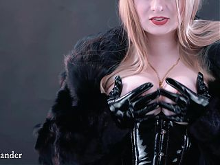 Fur Coat and Natural Boobs, Leather Gloves, Free Fetish Video
