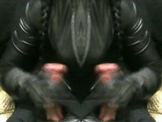 smoking wife jerking cum off two of me in leather gloves